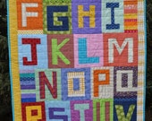 Alphabet quilt or blanket unique multicolor design with capital letters for baby boy or girl, child, teacher, classroom, play, display, gift