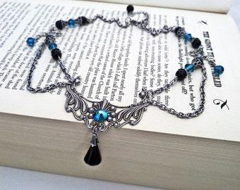 Gothic Black Necklace Swarovski Necklace Black Onyx Necklace Aged Silver Necklace Blue Zircon Victorian Gothic Jewelry
