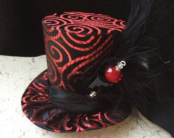 Red and Black Brocade Mad Hatter Mini Top Hat with Hat Pin for Dress Up, Birthday, Tea Party or Photo Prop