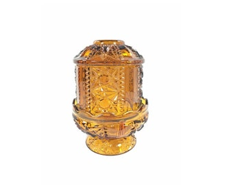 Vintage Amber Glass Fairy Light, Candle Holder Lamp, Indiana Glass Stars and Bars Pattern, Amber Hurricane Lamp, Hippie Boho Chic Decor