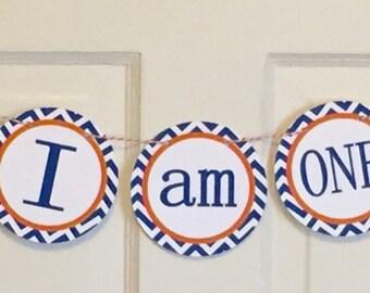 PREPPY CHEVRON ALLIGATOR Highchair Banner 1st Birthday Party Orange and Dark Blue Florida Gators