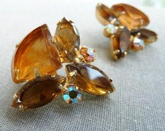 D&E Juliana Rhinestone Earrings Topaz AB Triangles Designer Costume Jewelry Collectible Earrings