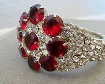 Vintage Red Rhinestone Flower Bracelet Vintage Bridal Jewelry Statement Bracelet Clamp Bracelet 1960s Designer