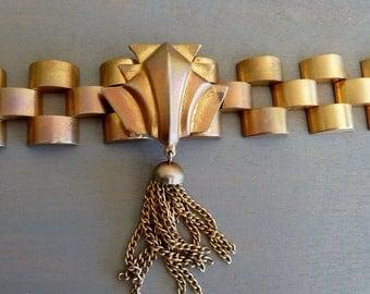 Art Deco Tassel Bracelet Geometric Statement Piece 1930s Vintage Jewelry
