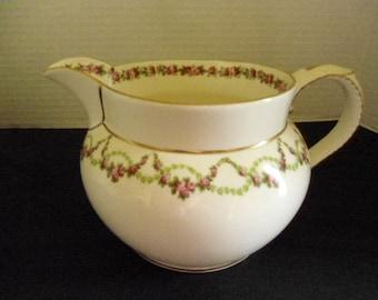 Art Nouveau Large Milk Pitcher c1910 Crescent China G Jones Rose Swags Pattern Gilded 22k Gold Stoke on Trent England