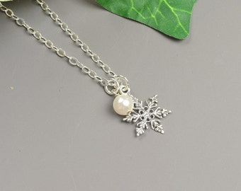 Sterling Silver Snowflake Necklace - Winter Wedding Jewelry - Choose Your Color Swarovski Pearl Necklace - Snowflake Pearl Necklace