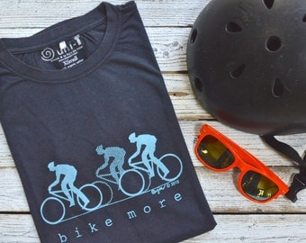 BIKE MORE Men's T shirt, Organic Bicycle Tshirt, Cycling Fitness T shirt, Ecofriendly Clothing, Mens Graphic Tee, Organic Clothing by Uni-T