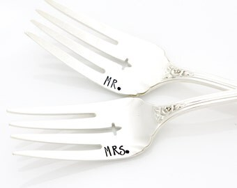Hand stamped mr and mrs wedding forks for table setting. Unique engagement gift. By Milk & Honey