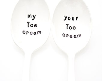 My and Your ice cream. Hand stamped ice cream spoons with hearts. Stamped Silverware for couples gift idea.