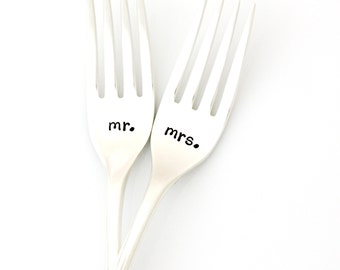 Mr. and Mrs. wedding forks. Hand stamped wedding forks for unique engagement gift. Ready to Ship.