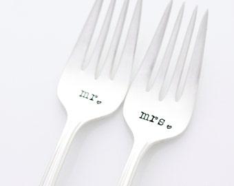 Wedding Forks, Mr and Mrs stamped forks for unique engagement gift idea under 25.