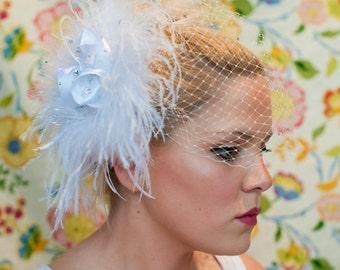 Bridal Birdcage Veil ~white ostrich feathers, birdcage veiling, hand-sewn rosettes,Swarovski, birdcage veil, bridal veil, bridal headpiece