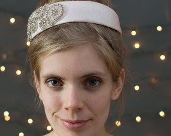 Bridal Pill Box Headpiece ~ Vintage pale pink pill box form, with new rhinestone appliques