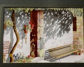 1980s Painting of a Mediterranean Courtyard European Watercolor Original Art Wall Hanging Home Decor
