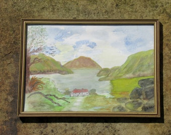 1970s English Landscape Painting Lake District Original Art Watercolor Wall Hanging Home Decor signed J A Hall
