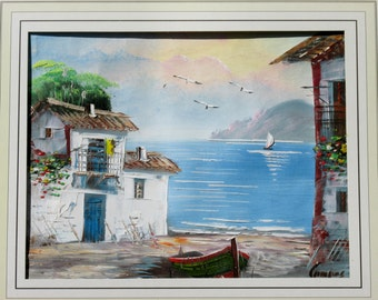 1960s Mediterranean Seascape Nautical Oil Painting Original Art Wall Hanging Home Decor