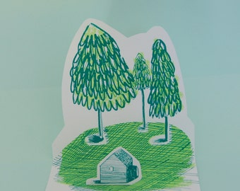 Pop Up Card - Home in the woods