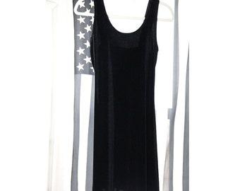 Stretchy Black 90s Velvet Mini Dress
