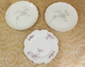 Set of three Antique/ Vintage Porcelain China Plates- Lilacs, Forget me Nots- Delicate Shabby Chic Look- Germany- Dessert/ Salad Size