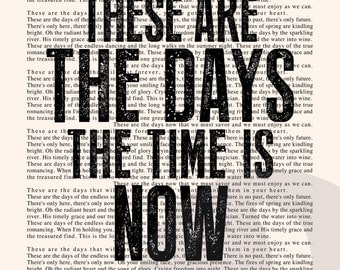 These are the Days Book Page - Van Morrison Lyrics Typography Print