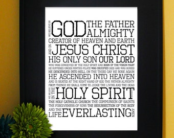 The Apostles Creed. I Believe in God. Inspirational Quote, Subway Art. Downloadable. Print it yourself.