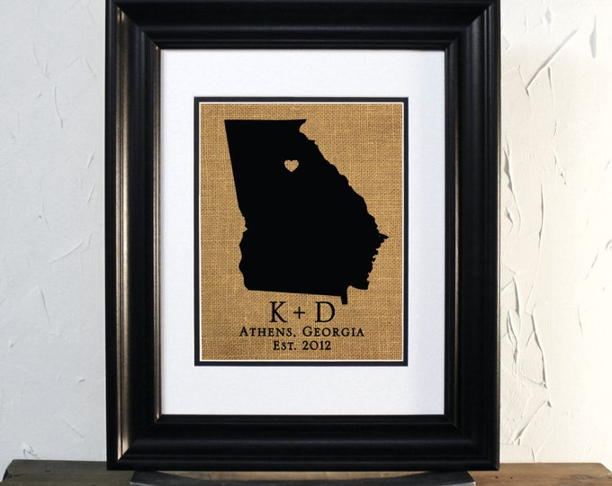 Georgia Map Burlap Sign Art. Wedding or Anniversary Gift. Custom Couple Name, City and State.
