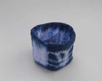 Shibori soft sculpture bowl -reversible -  gift - bedroom organization - bathroom organizer