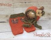 Newborn Pumpkin Bonnet and Short Pants - Fall Autumn Hat- Photography Prop - Baby Girl - Baby Boy
