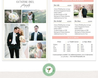 Photography Price Template - Wedding Packages - Wedding Price List - MKI01