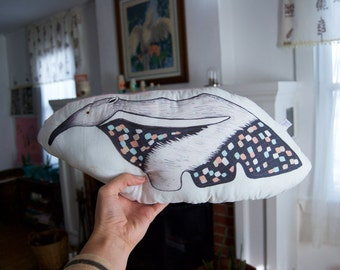 SALE Anteater Pillow / Giant Anteater / Mint Green / Coral