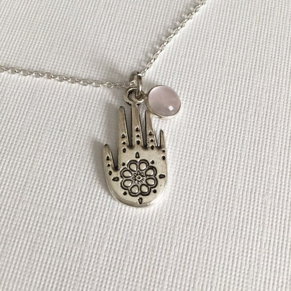 Henna Hand Necklace Silver Dainty Everyday Jewelry By BodhiNyx