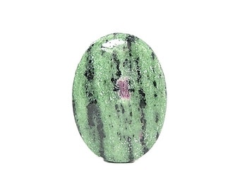 Red Ruby in Green Zoisite Semiprecious Gem Stone Cabochon,  aka Anyolite, mined in Tanzania,  Loose DIY Craft Jewel, Semi precious Gemstone
