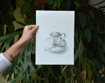 Coffee-Original A4 pencil drawing on paper - Breakfast tea spoon cup lunch kitchen wall art art drawing figurative art by Cristina Ripper