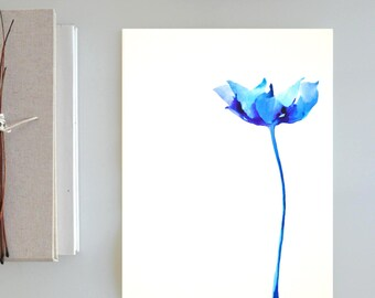 A3 Original blue tulip flower painting- ink art wall art tulip floral spring wall decor modern minimal drawing by Cristina Ripper