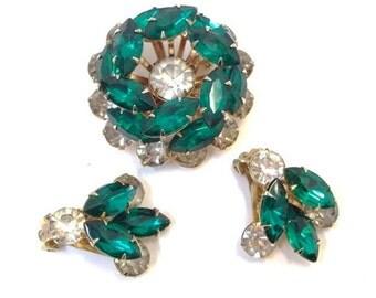 Emerald Green & Clear Rhinestone Brooch and Earring Set Tierd Green Clear Rhinestone Demi Parure Vintage Green Wedding Bridal Set DD 1041