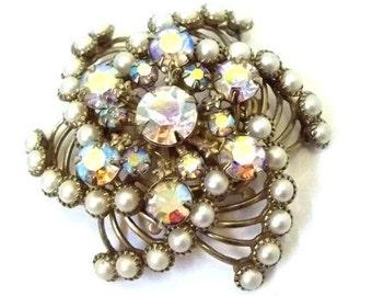 Aurora Borealis Rhinestone Pearl Pinwheel Brooch Tiered Pearl AB Rhinestone Brooch Wedding Bridal Jewelry Antiqued Gold Floral DD 886