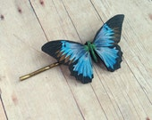 Blue Purple Butterfly Hair Accessory Pin Barrette Insect Accessories