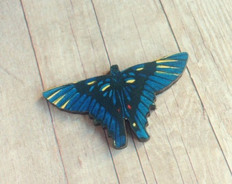 Blue Butterfly Brooch Insect Jewelry