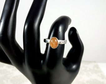 Natural Sunstone and Sterling Silver Ring - One of a Kind
