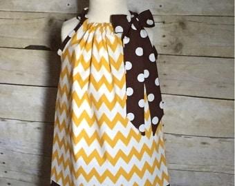 Custom Made Fall Thanksgiving Pillowcase Dress 6m 12m 18m 2t 3t 4t 5 6 7 8--Mustard Yellow Chevron and Brown Dots--Monogram Options Availble