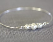SilverBangle,Bracelet,Three Pearl Bangle,Pearl Bracelet,Past , Present , future ,Wedding Gift, Bridal bracelet, Bridesmaid,valentine gifts,