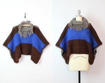 vintage crochet fringe poncho / vintage blanket poncho / vintage fringed poncho / brown blue grey open knit poncho / cowl neck poncho