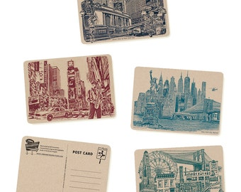 Icons of NYC & Brooklyn, New York Postcards - Set of 8 Cards