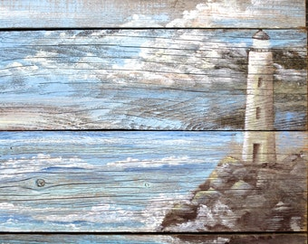 Lighthouse Sign Hand Painted on Barnwood Costal Beach Art Seascape
