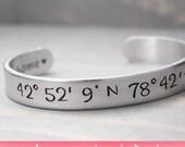Latitude Longitude Bracelet, Coordinate Bracelet, Coordinate Cuff, Personalized Gift Idea, Personalized Jewelry