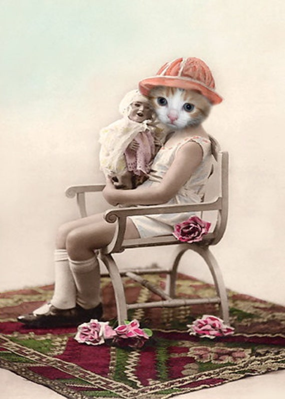 Priscilla, Vintage Cat Print, Anthropomorphic, Photo Collage, Altered Photo, Cute Cat Print, Whimsical Art, Mixed Media Collage, Cat Art