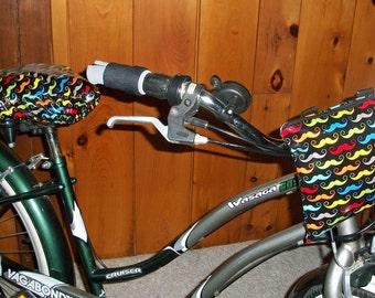 Mustaches Bike Handlebar Convertible Pouch - Clutch - Hipster Bag - Crossbody Bag