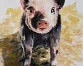 RESERVED for DeAnn -This Little Piggy - original watercolor painting
