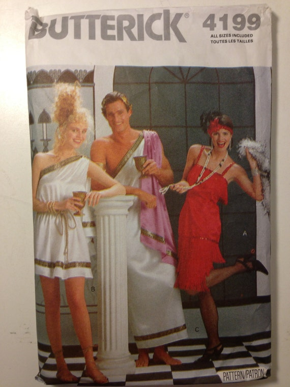 Butterick 80s Pattern 4199 Greek God, Goddess, and Flapper Halloween Costume Size XS-L