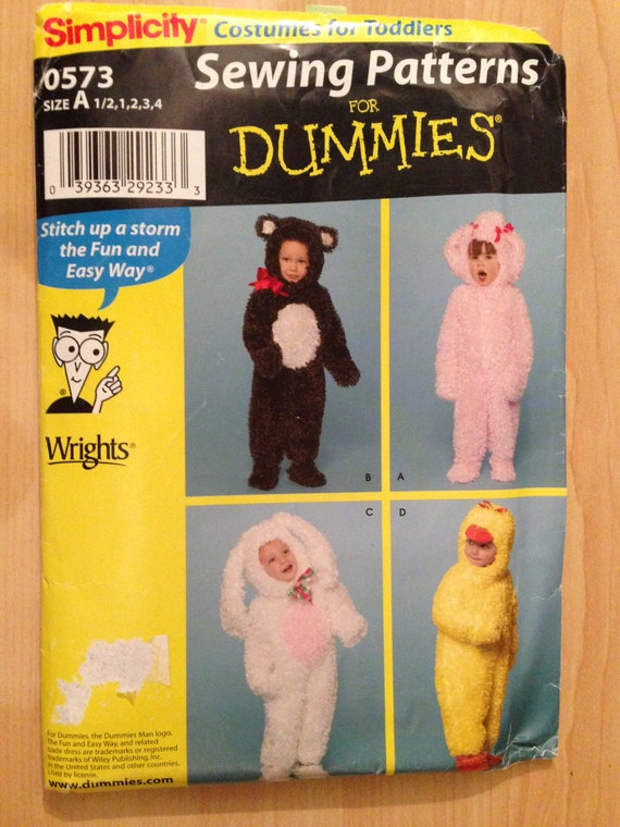 Simplicity Sewing Pattern 0573 Toddler Bear, Bunny, Lamb and Duck Costume Size 1/2-4 Uncut